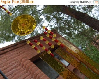 FLASH SALE Yellow Red Stained Glass Windchime Suncatcher