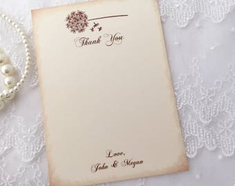 Dandelion Thank You Cards, Dandelion Cards, Dandelion Stationery, Wedding, Bridal Shower, Set of 10