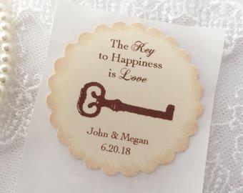 Key Stickers, Skeleton Key Stickers, Key Wedding Stickers, Key Favor Labels, Set of 10