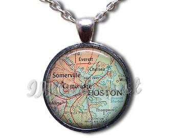 Boston Map Road Massachusetts Glass Dome Pendant or with Chain Link Necklace MP105