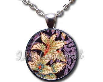 25% OFF - Asian Flowal Design Purple Dome Pendant or with Chain Link Necklace NT144