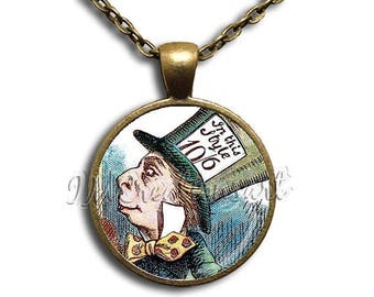 25% OFF - Alice In Wonderland Madhatter - Round Glass Dome Pendant or with Necklace by IMCreations -  AW103