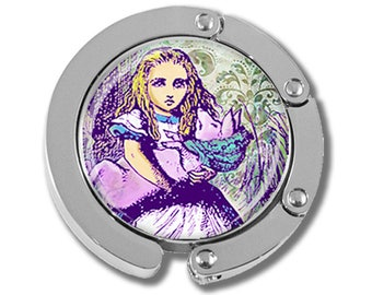 NEW just for this holiday season!! Foldable Bag Purse Hook - Alice In Wonderland Multicolor Alice holding Pig FHK139