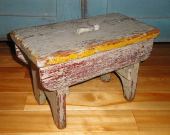 Primitive Painted Wood Stool With Finger Hole | Antique Wood Stool |  Old Hand Made Home Made Wood Step Stool | Country Farmhouse Grey Stool