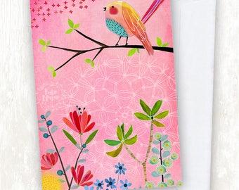Pink Bird Floral GREETING CARD