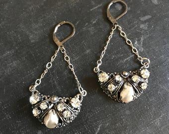Sparkle Vintage Repurposed Jewelry Earrings West German Filigree Rhinestones Pearls