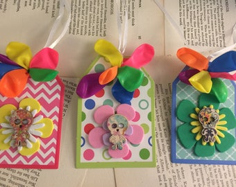 3 skeleton flower gift tags collage Art #3 FREE US Shipping