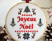 French Christmas, Joyeux Noel, Counted Cross Stitch Pattern, Christmas Cross Stitch, Small Sampler, Nordic Style, pdf Christmas
