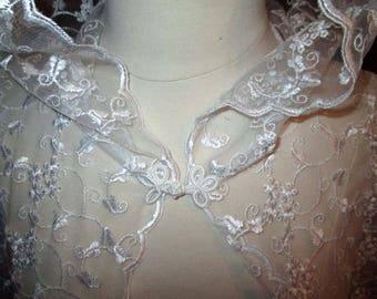 White Lace Cape Cloak Hooded Wedding Cathedral Train Renaissance Medieval Renaissance Fairy