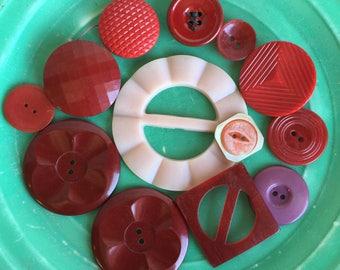 Vintage Red Bakelite Buttons Belt Buckles - Coat Buttons - MOP Nice