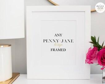Framed Art, 8x10 Design Framed and Matted, White Frame with White Mat 8x10 Opening, White Frame Wall Art Home Decor