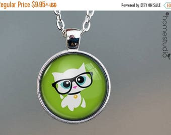 ON SALE - Kitty Glasses : Glass Dome Necklace, Pendant or Keychain Key Ring. Gift Present metal round art photo jewelry by HomeStudio