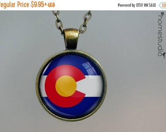 ON SALE - Colorado Flag : Glass Dome Necklace, Pendant or Keychain Key Ring. Gift Present metal round art photo jewelry by HomeStudio