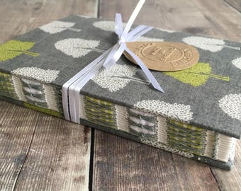A6 Trees Journal, Notebook, Diary, with decorative hand-sewn open spine
