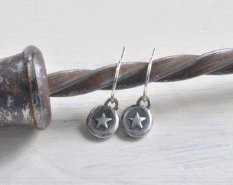 tiny star earrings - silver star dangle earrings - shine on - sterling silver wax seal jewelry