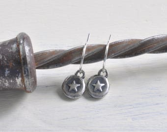 tiny star earrings - silver star wax seal dangle earrings - shine on - sterling silver wax seal jewelry