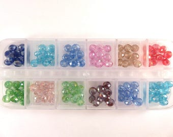 120 Glass Bead Assortment 6x4mm Rondelle Faceted Bead Mix - 120 pc - MS11061