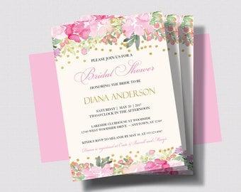 BRIDAL SHOWER INVITATION Pink and Gold Glitter   Blush Pink Floral Bridal Shower Invitation   Shabby Chic Bridal Shower Printed or Digital