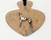 SueBero Stone Pendant Greyhound Dog Necklace