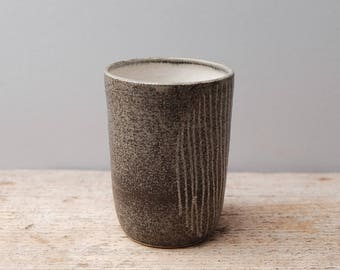Stoneware Cup with Lines