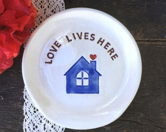 Housewarming Gift - Spoon Rest - Love Lives Here Ceramic Spoon Rest Hostess Gift in Stock & Ready to Ship