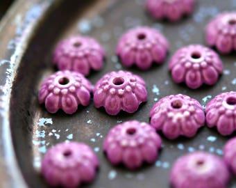 NEW! Cherry Blossom - Porcelain, Ceramic Bead Caps, Purple, Flower Shaped, Spacer 10x4mm - Pc 10