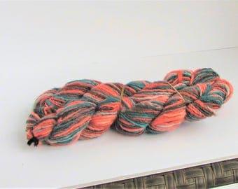 wool, handspun yarn, multicolor, merino, salmon, rust, green, C, destash new