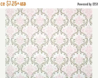"ON SALE BLUSH Pink Damask Table Linens, table runners, 13""W, napkins,  placemats, cotton,  lt pink blush  and taupe/grey wedding bridal choo"