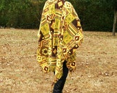 Clearance--Southwestern Fleece Poncho, Wrap, Cape or Shawl with Fringe--Pow Wow Shawl--Native American Yellow Gold--One Size Fits Most
