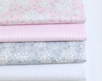 4704 - Flower & Stripe Cotton Fabric - 62 Inch (Width) x 1/2 Yard (Length)