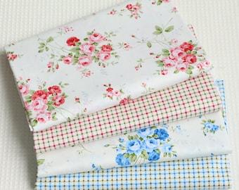 4705 - Rose & Gingham Cotton Fabric - 62 Inch (Width) x 1/2 Yard (Length)