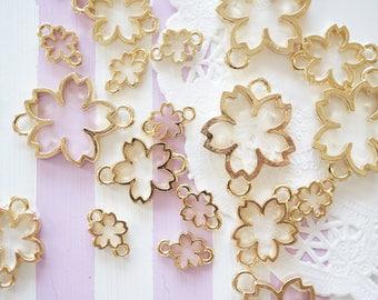 Double Loops /Open Bezel Charm/ Sakura Cherry Blossom  AZ168