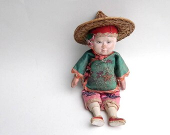 """Vintage Asian Composition Doll 9"""""""