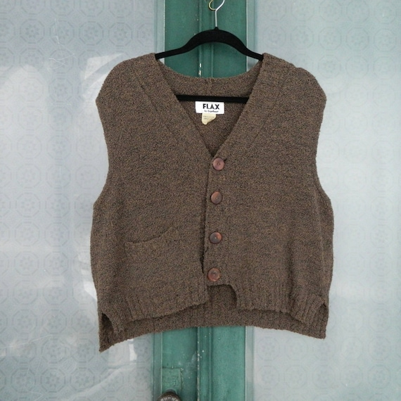 FLAX Engelhart 1996 Sweater Vest with Pocket -M/L- Brown 100% Wool