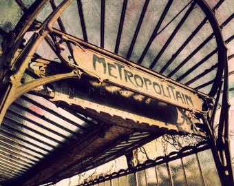 Paris photography, Paris Metro decor, Paris metro sign, Steampunk decor, Paris decor, Paris print, photographydream Art nouveau