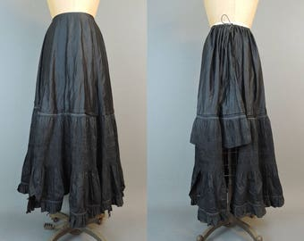 Victorian Black Cotton Petticoat Remnant, Antique Vintage 1800s As Is Cutter Slip
