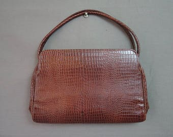 Vintage 1940s Brown Faux Reptile Purse, Embossed Pressed to look like Snake or Alligator, 11x7 inches