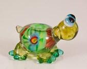 Colorful Green Turtle Lampwork Bead