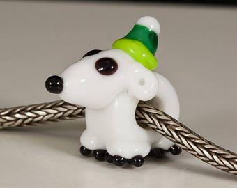 Polar Bear with Green Hat Big Hole Bead