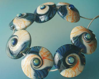 Nautilus Set - Handmade Lampwork Glass Beads (SRA)