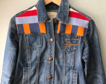 Adult Denim Vintage Jean Jacket with Oregon wool fabric appliques - Size M Native American Women's Denim Jacket Tribal Denim Jacket