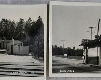 Lot of 2 Camp Pickett Virginia RPPC - Gate No. 1 and Amphitheatre - World War II - Real Picture Post Card