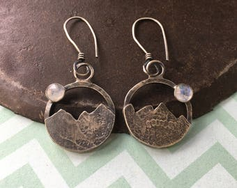 all that you keep is the journey.  moonstone mountain earrings