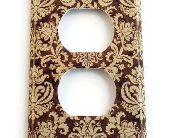 Switch Plate Outlet Light Switch Cover  Light Switchplate  in Brown and Cream Damask (221O)