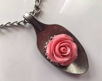 Steampunk Vikctorian Fantasy Rose in a Spoon Pendant Necklace