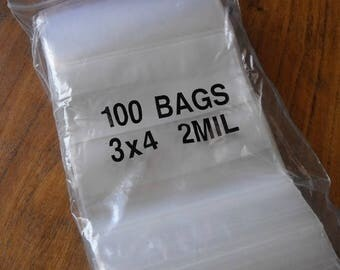 Summer Sale 100 Pack White Block Zip Top Poly Pags 3 x 4 Inch Size Great for Beads,collectibles,stamps, etc.