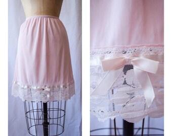 Lady Slip   Vintage Half Slip 1960s Lingerie Pink Wide Floral Lace Hem Pink Satin Trim Pretty Bow Nylon Tricot Petticoat Size XS-S