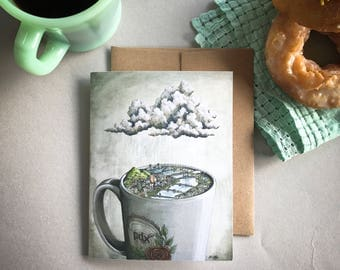 Coffee City Portland Card, Portland coffee greeting card, Portland bridges art card, Portland skyline, Portland illustration mug and rain