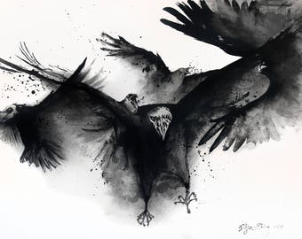 Giclee print on matte canvas - 8x12in or 16x12in A4 A3 - demonic jackdaws
