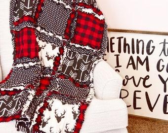 Lumberjack Nursery Baby Quilt - Black / Red Crib Bedding- Buffalo Plaid Nursery - Rustic Nursery Decor - Red and Black Plaid Rag Blanket